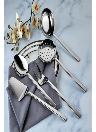 Bayev Bayev 5 Li Çelik Düz Servis Seti Kepçe-Kevgir Takımı Renksiz